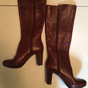 Nine West cognac leather boots
